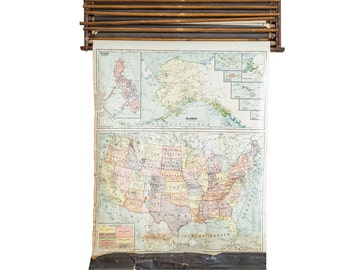 Crams 1938 Edition Vintage Pull Down Map of United States