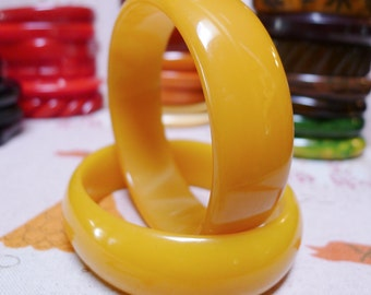 LEMON YELLOW--Set of Two Chunky Bakelite Bracelets
