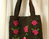 New lightweight handwoven 100% Brown wool embroidered pink flowers bag purse