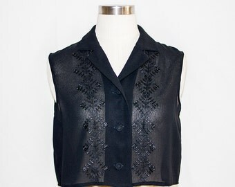 Vintage Black Embroidered Cropped Sleeveless Shirt