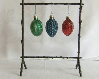 3 Vintage Glass Christmas Tree Ornaments - Red, Green, Blue, Molded, Made in USA, Grapes, Walnut, Pomegranate, Melon, Fruit, Art Deco