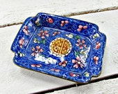 Antique Ring Holder Dish, Chinese Enamelware, Blue Floral Flower Small Brass Trinket Dish, Antique Vanity Tray, 1920s Asian Art Home Decor