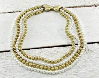 Vintage White and Gold Beaded Necklace, Pearl Choker Necklace, Brass Bead Necklace, Multi-Strand Necklace, 1950s Vintage Costume Jewelry