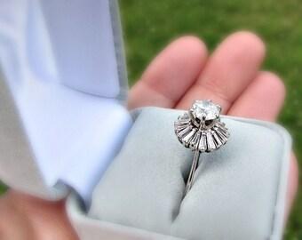 Vintage 1950s Diamond Engagement Ring, 2.5 Carat Diamond BALLERINA Ring, Brilliant & Baguette Cut Diamonds, 14K White Gold Ring, Size 6 Ring