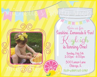 NEW - SET OF 12, Mason Jar Pink Lemonade Birthday Invitations