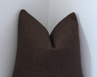 "Chocolate Brown Belgium Basketweave Pillow Cover 18""x18""- 20""X 20""- Lumbar Pillow Covers -  Invisible Zipper"