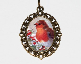 Christmas Robin Necklace, Bird Jewelry, Robins, Holly, Red Berries, Winter, Oval Pendant