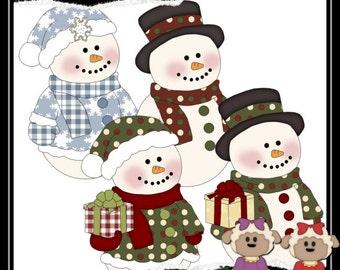 Jolly Snowman 1 Clipart (Digital Download)