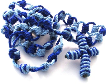 Handmade Two-tone Blue Knotted Cord Catholic Ladder Rosary