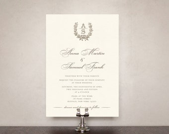 French Wreath Wedding Invitation Suite