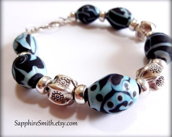 BLACK & BLUE Artisan Lampwork Glass and Karen Hill Tribe Fine Thai Silver Bracelet, tribal style