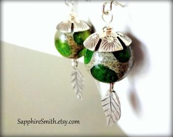 IRISH MOSS Artisan Lampwork Glass & Karen Hill Tribe Fine Silver Earrings - ooak jewelry design - 30% off