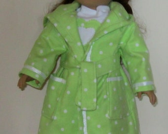 Bright Green and White Polka Dot Pajama, Robe, Slippers Set Fits American Girl Dolls or Similar 18 Inch Doll