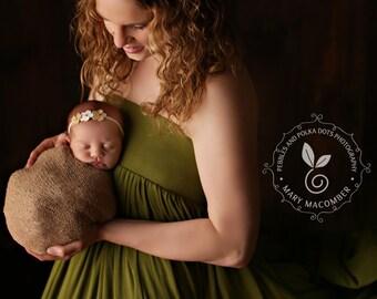 Newborn Tieback, Sweetest Little Burlap Flower Tie Back, Headband Newborn to Child, Newborn Photography Prop, Headband, Girl Flower Headband