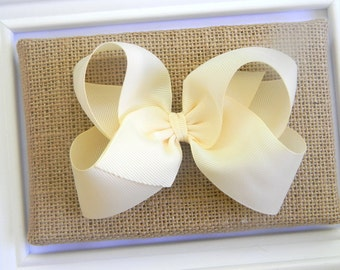 Ivory Boutique Hair Bow - Ivory Hair Bow - Large Ivory Boutique Bow