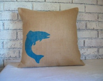 Fish Pillow Cover, Rustic Home Decor Pillow, Burlap Pillow, Fishing Cabin Decor, Jumping Trout Pillow, Lake Cabin Decor, Rustic Pillow Cover