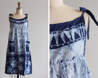 1970s Blue Sumatra Batik Dress