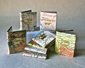Three Mini Journals with Re-purposed Map Covers and Letterpress Pointing Fingers for Favors, Gifts and Decor