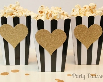 Black & White Striped Popcorn Boxes with Gold Glittered Heart, Wedding, Bridal, Oscar party,  Set of 10