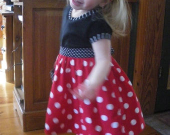 girls mini dress, vacation dress, red and white polka dot twrilly skirt, disney inspired dress, available to order 12mo, 18mo, 2T,3T,4T