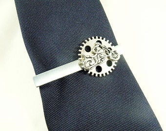 Tie Bar Tie Clip,   Silver  Motorcycle and Gear Sprocket Mens Gift             Handmade