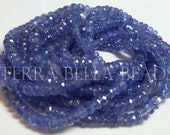 "7"" half strand AAA TANZANITE gemstone blue violet faceted rondelle gem stone beads 3mm - 4.5mm"