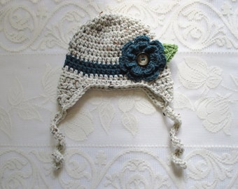 READY TO SHIP - 3 to 6 Month Size - Girl's Teal Flowered Crocheted Hat - Photo Prop