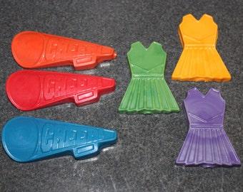 Recycled Crayons. Cheer Crayons. Kids Crayons. Cheer. Cheerleader Crayons. Cheerleader. Party Favors. Set of 4 Crayons. Rainbow Crayons.