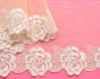 Pale Peach Lace Trim, Sparkly Peach Ivory Floral Lace, Embroidered Floral Trim, Dressmaking, Lingerie, Costume, Dolls