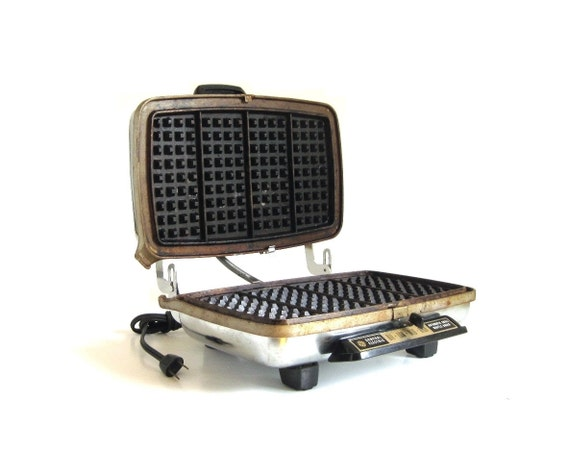 Electric Waffle Maker ~ Ge waffle iron grill a g general electric vintage chrome