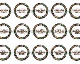 "1"" Small Town Girl Camo Mossy Oak Bottle Cap Image Sheets Party Favors Cupcake Topper Magnet Stickers Printables Bottlecap Instant Download."