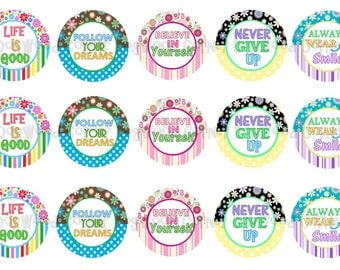"1"" Inspirational Bottle Cap Image Sheets Party Favors Cupcake Topper Magnet Stickers Printables Bottlecap Instant Download."