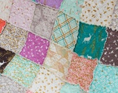 CUSTOM for mhartzel: Brambleberry Ridge, Gold sparkles and pastels, LARGE Throw Sized Rag Quilt