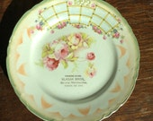 1922 pink floral plate-Farmers Store Vlasak Bros South Dakota-cottage chic-Give Away gift Calendar antique collectible The Standard