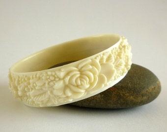 Art Deco Bracelet, Carved Celluloid Floral Bracelet, Floral Jewelry