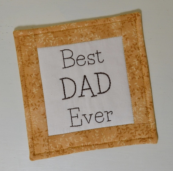 Best Dad Ever Coaster - Father Mug Rug - Gift for Him - Fathers Day Gift - Father to be Gift - Golden Leaves - Man Cave Decor