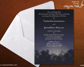 Enchanted Forest Evening Wedding Invitation - Bridal Shower, Birthday, Baby Shower, Quince, Sweet 16 - Evening, Fireflies - Digital File