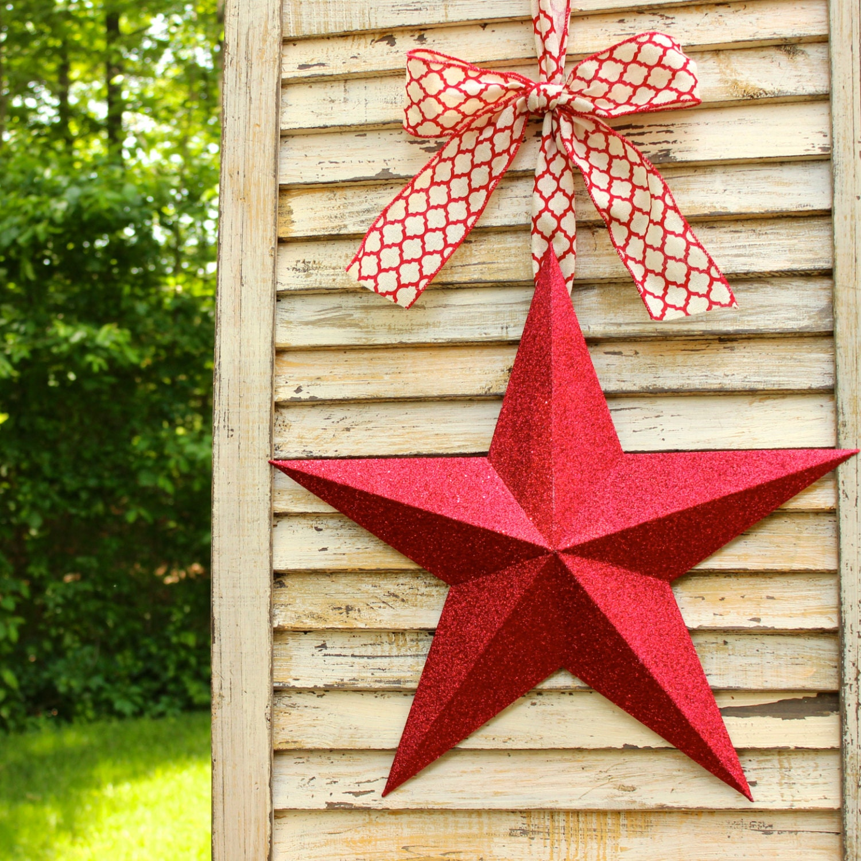 Glitter Star Wreath Barn Star Red Star Decor Patriotic