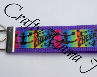 CHEER! Print Ribbon Key Fob Keychain Wristlet in Blue, Pink, Purple and Yellow