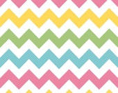 1/3 yard LAMINATED cotton fabric remnant - Pastel pink yellow aqua green chevron yardage (aka oil cloth vinyl slicker coated fabric)