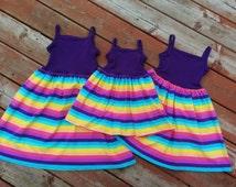 Girls Purple and Pastel Rainbow Stripe Knit Tank Dress 12 18 2t 3t 4 5 6 7 8 10 LLK Homegrown Tank Dress Summer Stripes