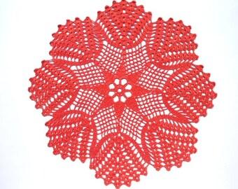"""Red crochet doily, crochet centerpiece, pound lace doily, 13 """""""