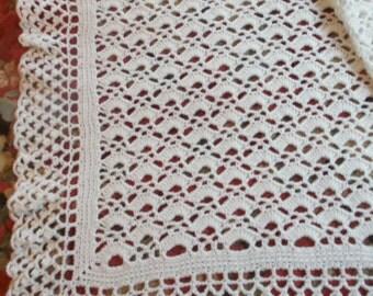 Crocheted White Baby Afghan (bk94)