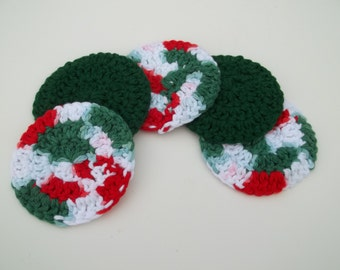 Red, Green and White Cotton Scrubbies