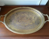 2 FT large brass tray perfect for entertaining this summer. Etched.  Bohemian