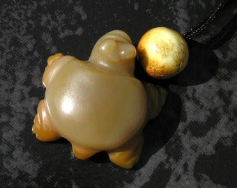 Ancient Agate Turtle Pendant Necklace with Ancient/Antique Jade Beads by NeoWare