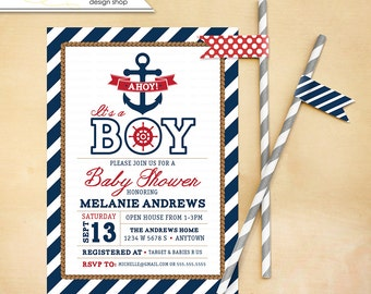 Nautical Baby Shower Invitation Printable Anchor Boy