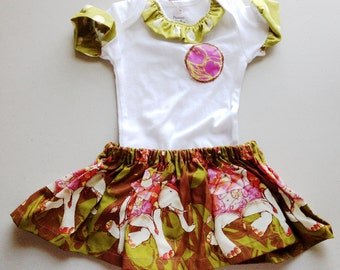 CLEARANCE PRICE!! 2 LEFT!! Baby's Green and Pink Onesie with Coordinating Green Elephant Parade Skirt