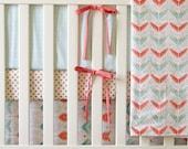 Arrow Crib Bedding Set - 4 Piece Set - Crib Bumper, Fitted Crib Sheet, Crib Skirt, Crib Blanket - Gold, Coral, Mint Bedding Set