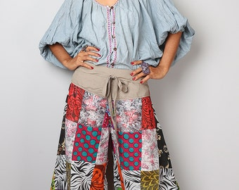 Comfy patchwork pants  - Wide leg boho pants : Boho Patchwork Collection
